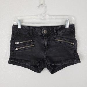 American Eagle zippered jean denim stretch shorts